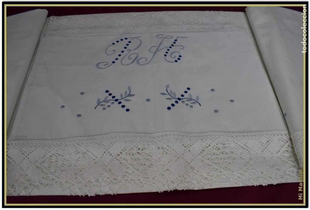 Antigüedades: Juego sabana y almohada bordada algodón Tolrá - Foto 5 - 168299864