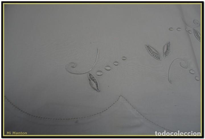 Antigüedades: Juego sabana y almohada bordada algodón Tolrá - Foto 3 - 168300064