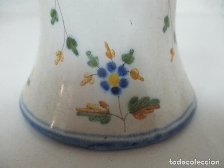 Antigüedades: Bonita Campana, Campanilla - Porcelana Alcora - Firma EF - Foto 5 - 168360860