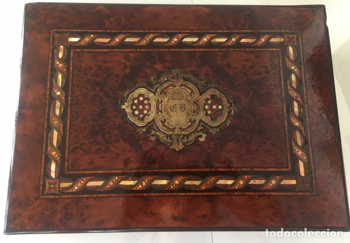 Antigüedades: ANTIGUA CAJA FRANCESA NAPOLEÓN SIGLO XIX CON INCRUSTACIONES DE NÁCAR Y MADREPERLA - Foto 5 - 168364140