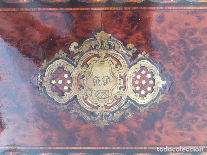 Antigüedades: ANTIGUA CAJA FRANCESA NAPOLEÓN SIGLO XIX CON INCRUSTACIONES DE NÁCAR Y MADREPERLA - Foto 6 - 168364140