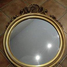 Antigüedades: PRECIOSO ESPEJO CORNUCOPIA PAN DE ORO.. Lote 168379248