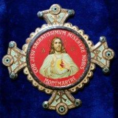Antigüedades: ANTIGUA CHAPA EMBLEMA PLACA LITOGRAFIADA PUERTA CORAZON DE JESUS. Lote 168381548