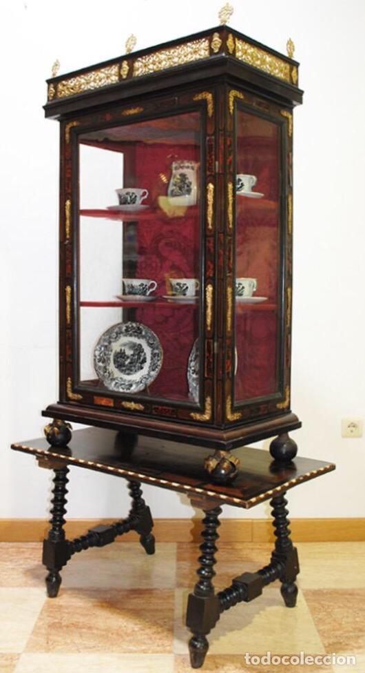 Antigüedades: ANTIGUA E IMPRESIONANTE VITRINA FRANCESA BOULLÉ PRINCIPIOS DEL SIGLO XIX - Foto 2 - 168387208