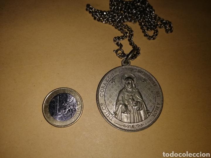 Antigüedades: Cadena de plata con medallón preciosa - Foto 4 - 125392798