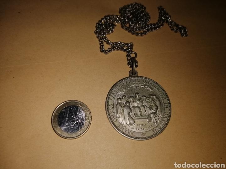 Antigüedades: Cadena de plata con medallón preciosa - Foto 5 - 125392798