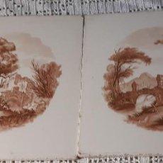 Antigüedades: PAREJA DE AZULEJOS DE PAISAJE . Lote 168393536