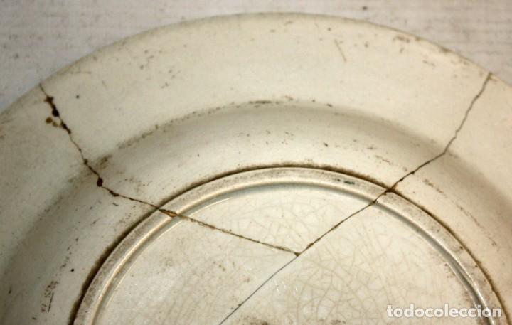 Antigüedades: LOTE DE 4 PLATOS EN CERÁMICA DE LA FABRICA LA AMISTAD DE CARTAGENA - Foto 8 - 168425588