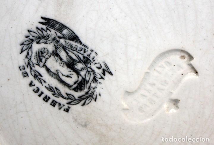 Antigüedades: LOTE DE 4 PLATOS EN CERÁMICA DE LA FABRICA LA AMISTAD DE CARTAGENA - Foto 7 - 168425588