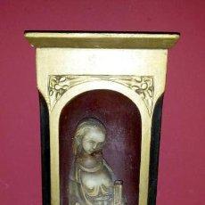Antigüedades: ESCULTURA EN PIEDRA Y MADERA DE LA VIRGEN. Lote 168445500