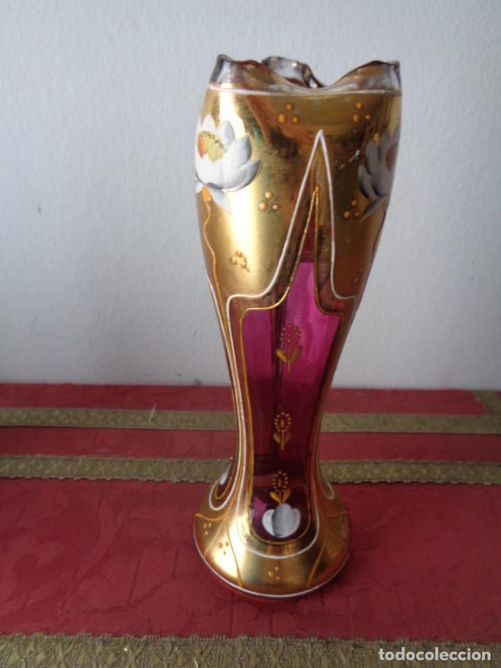 Antigüedades: Jarrito modernista. Principios del siglo XX. Cristal policromado, esmaltado y polvo de oro. - Foto 2 - 168455464