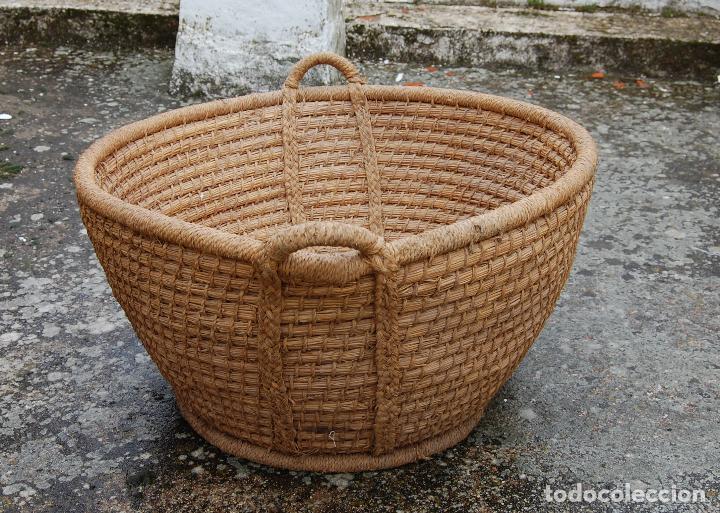 CESTA ESPUERTA CAPACHO DE ESPARTO PLAITA (Antigüedades - Técnicas - Rústicas - Utensilios del Hogar)