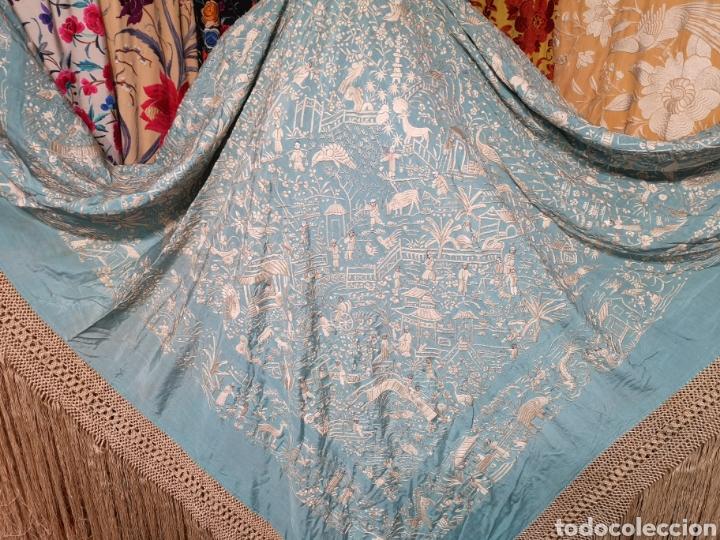 Antigüedades: Mantón antiguo cantonés - Foto 2 - 168492828