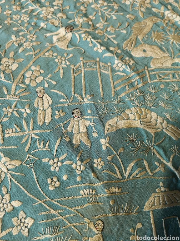 Antigüedades: Mantón antiguo cantonés - Foto 7 - 168492828