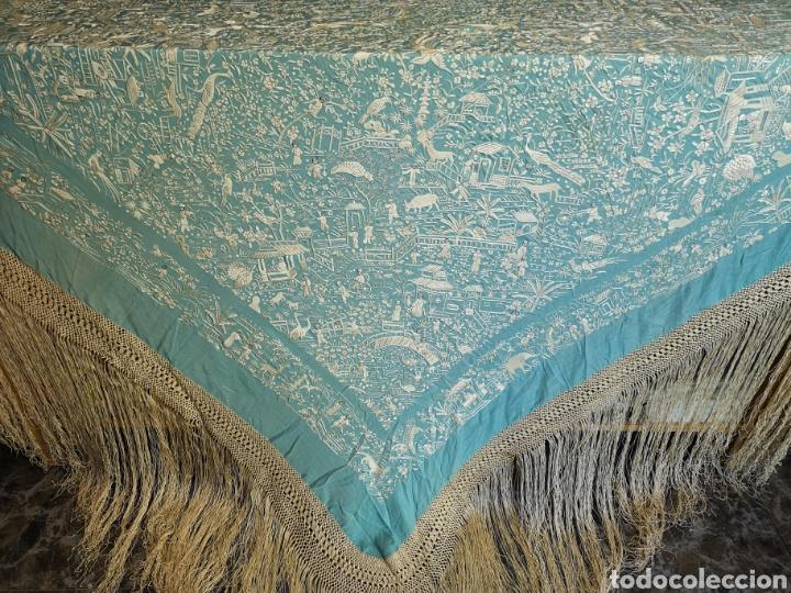 Antigüedades: Mantón antiguo cantonés - Foto 8 - 168492828