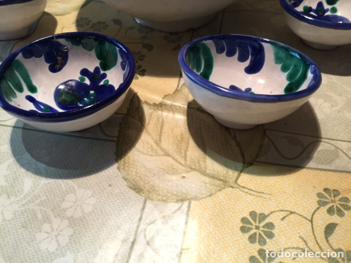 Antigüedades: Antiguo cuenco / cuencos de porcelana de Talavera de la Reina con dibujo de magrana en azul cobalto - Foto 3 - 168517528