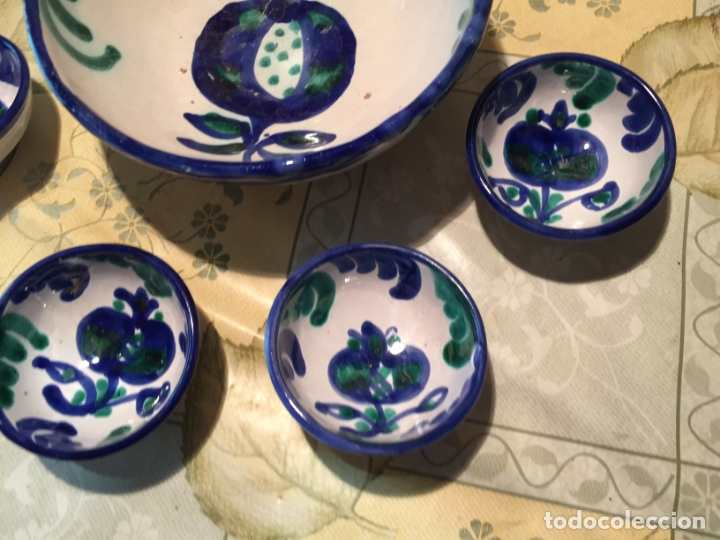 Antigüedades: Antiguo cuenco / cuencos de porcelana de Talavera de la Reina con dibujo de magrana en azul cobalto - Foto 4 - 168517528