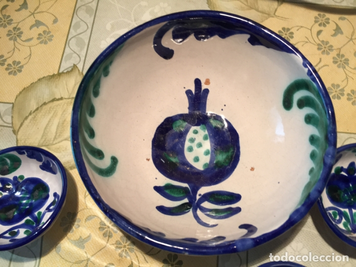 Antigüedades: Antiguo cuenco / cuencos de porcelana de Talavera de la Reina con dibujo de magrana en azul cobalto - Foto 5 - 168517528