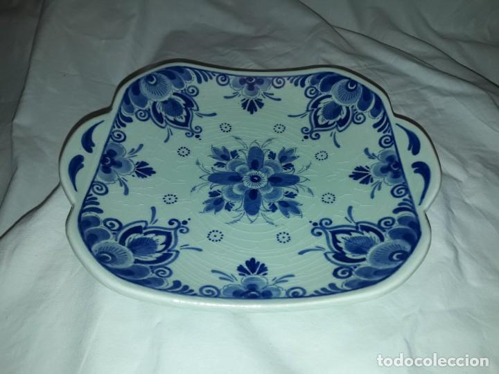 Antigüedades: Bella antigua bandeja porcelana Holandesa Delft - Foto 2 - 168523652