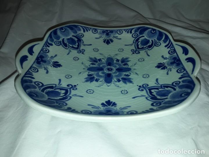 Antigüedades: Bella antigua bandeja porcelana Holandesa Delft - Foto 3 - 168523652