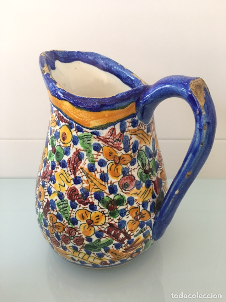 Antigüedades: Antigua jarra de cerámica de Manises firmada VG Vicente Gimeno - Foto 4 - 168553338
