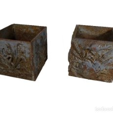 Antigüedades: PAREJA DE JARDINERAS DE HIERRO FUNDIDO SIGLO XIX. Lote 168562744