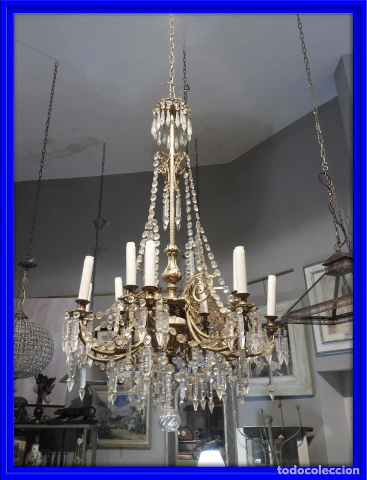 IMPORTANTE LAMPARA ISABELINA BRONCE Y CRISTALES DE ROCA (Antigüedades - Iluminación - Lámparas Antiguas)