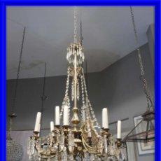Antigüedades: IMPORTANTE LAMPARA ISABELINA BRONCE Y CRISTALES DE ROCA. Lote 168590780