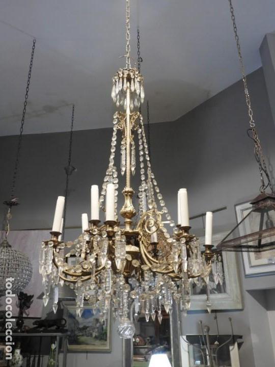 Antigüedades: IMPORTANTE LAMPARA ISABELINA BRONCE Y CRISTALES DE ROCA - Foto 9 - 168590780