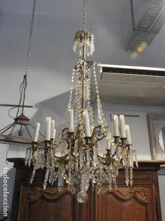 Antigüedades: IMPORTANTE LAMPARA ISABELINA BRONCE Y CRISTALES DE ROCA - Foto 2 - 168590780