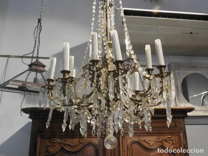 Antigüedades: IMPORTANTE LAMPARA ISABELINA BRONCE Y CRISTALES DE ROCA - Foto 3 - 168590780