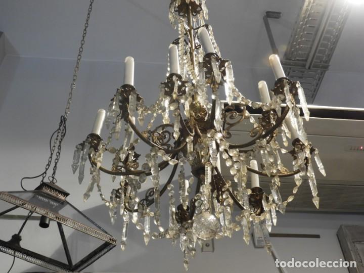 Antigüedades: IMPORTANTE LAMPARA ISABELINA BRONCE Y CRISTALES DE ROCA - Foto 4 - 168590780