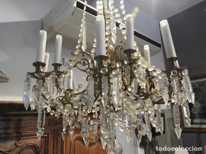 Antigüedades: IMPORTANTE LAMPARA ISABELINA BRONCE Y CRISTALES DE ROCA - Foto 5 - 168590780