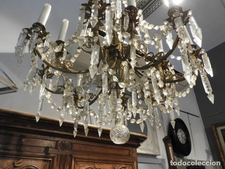 Antigüedades: IMPORTANTE LAMPARA ISABELINA BRONCE Y CRISTALES DE ROCA - Foto 6 - 168590780