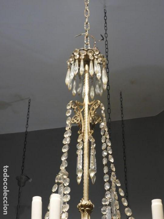Antigüedades: IMPORTANTE LAMPARA ISABELINA BRONCE Y CRISTALES DE ROCA - Foto 7 - 168590780