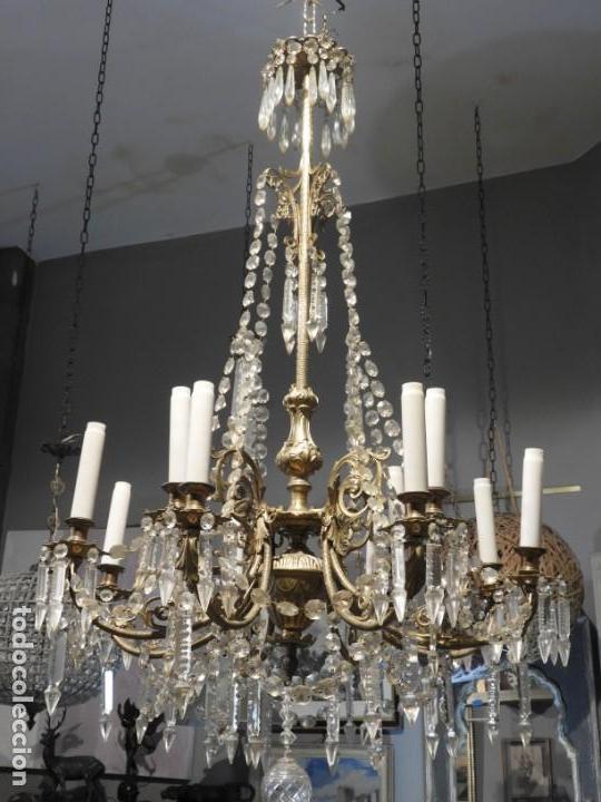 Antigüedades: IMPORTANTE LAMPARA ISABELINA BRONCE Y CRISTALES DE ROCA - Foto 8 - 168590780