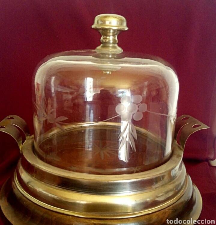 PASTELERA. TARTERA DE CRISTAL TALLADO Y ALPACA. CON CUPULA DE CRISTAL. (Antigüedades - Cristal y Vidrio - Italiano)