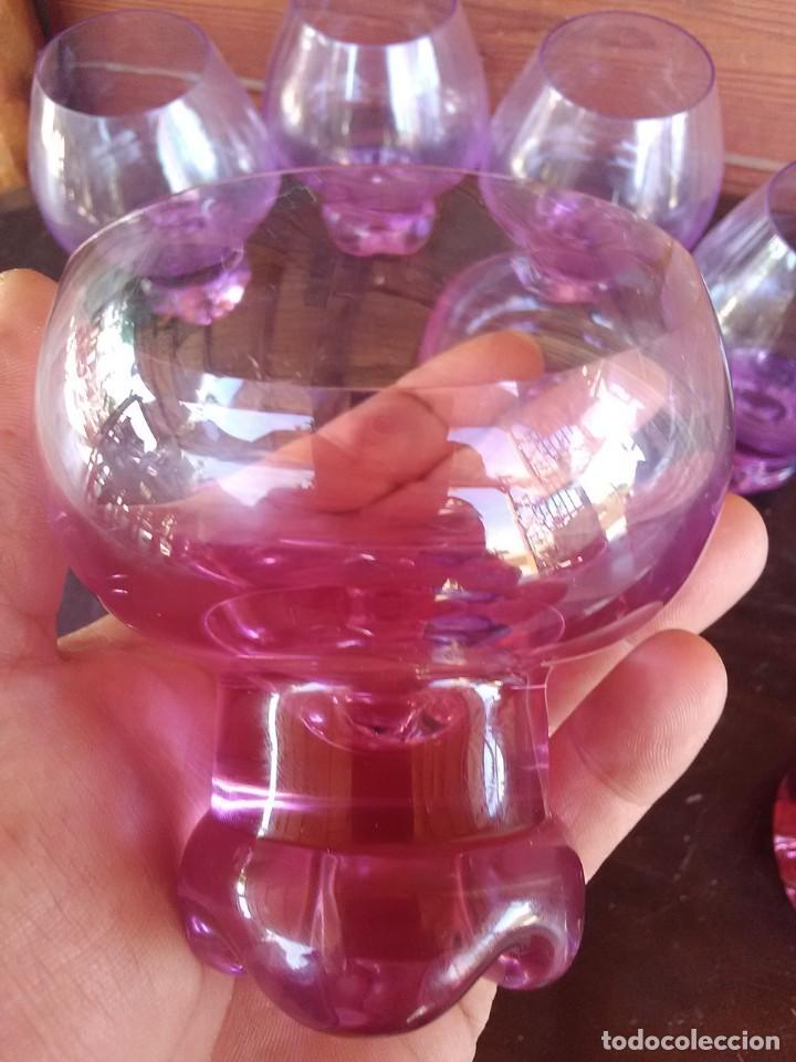 Antigüedades: Lote de 11 Piezas Cristal Rosa. - Foto 4 - 168608296