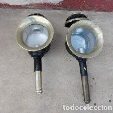 Antigüedades: PAREJA DE FAROLES O LUMINARIAS DE COCHE, CARROZA . Lote 168620824