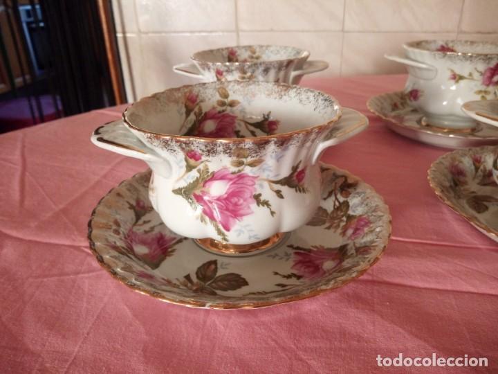 Antigüedades: Precioso juego de tazones con asa y platos de porcelana chodziez made in poland moss rose,12 piezas - Foto 4 - 168621436