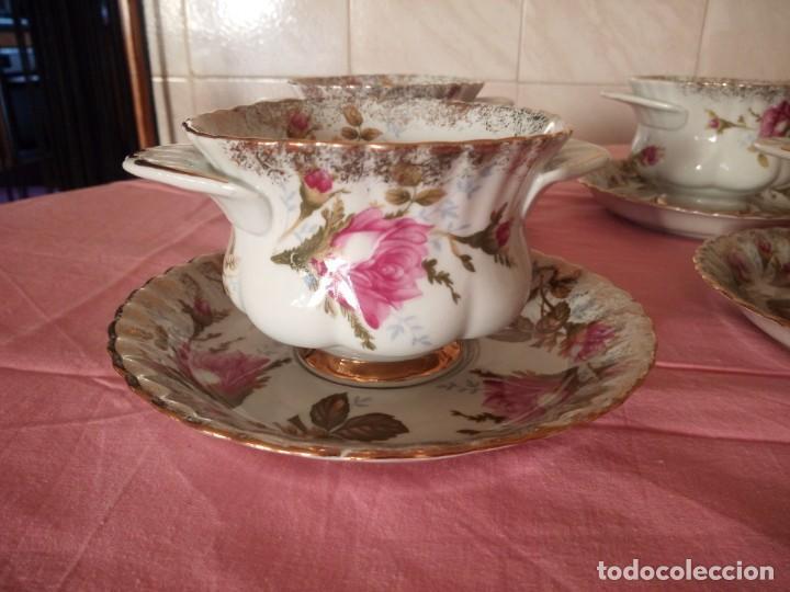 Antigüedades: Precioso juego de tazones con asa y platos de porcelana chodziez made in poland moss rose,12 piezas - Foto 5 - 168621436