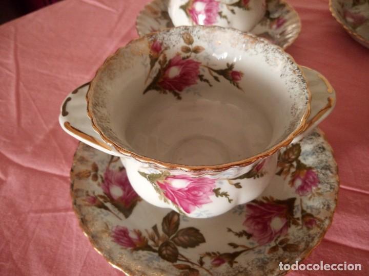 Antigüedades: Precioso juego de tazones con asa y platos de porcelana chodziez made in poland moss rose,12 piezas - Foto 6 - 168621436