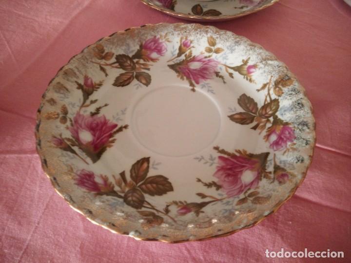 Antigüedades: Precioso juego de tazones con asa y platos de porcelana chodziez made in poland moss rose,12 piezas - Foto 7 - 168621436