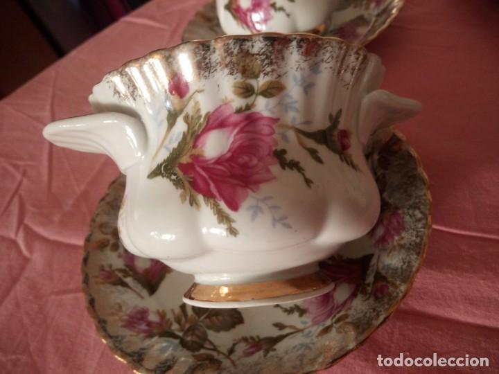 Antigüedades: Precioso juego de tazones con asa y platos de porcelana chodziez made in poland moss rose,12 piezas - Foto 9 - 168621436