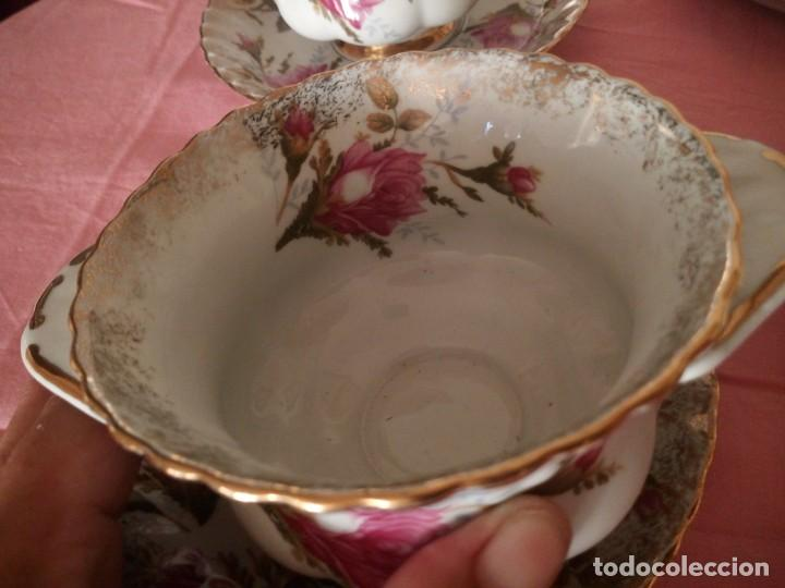 Antigüedades: Precioso juego de tazones con asa y platos de porcelana chodziez made in poland moss rose,12 piezas - Foto 10 - 168621436