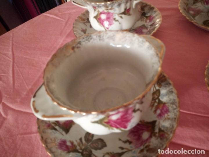 Antigüedades: Precioso juego de tazones con asa y platos de porcelana chodziez made in poland moss rose,12 piezas - Foto 11 - 168621436