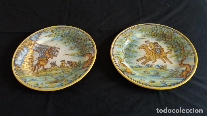 PRECIOSOS PLATOS ANTIGUOS DE CERÁMICA DE TALAVERA. RUIZ DE LUNA (Antigüedades - Porcelanas y Cerámicas - Talavera)
