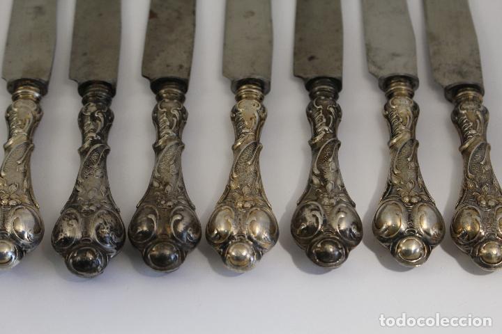 Antigüedades: 12 cuchillos antiguos en plata de ley 800 milesimas - Foto 2 - 168651636