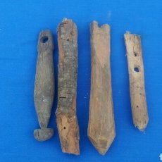 Antigüedades: LOTE DE ANTIGUOS BADAJOS EN CONSTRUCCION PARA CENCERROS, MADERA DE ENCINA. Lote 168671426