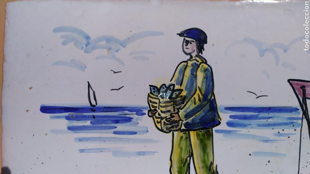 Antigüedades: Azulejo pescador 20 x 29 cm. - Foto 3 - 168676570